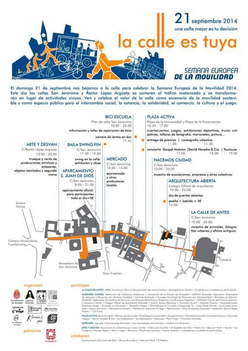 Semana europea de la movilidad en Granada 2014 mapa